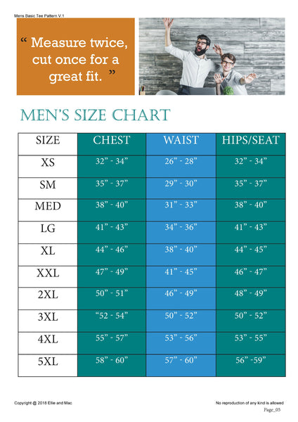 Mens Tee Size Chart for Ellie and Mac Sewing Patterns