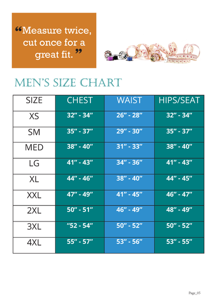 Mens Zip It Jacket Sewing Pattern Size Chart for Ellie and Mac Sewing Patterns