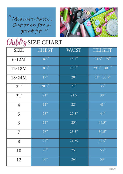 Mermaid Swirl Size Chart for Ellie and Mac Sewing Patterns
