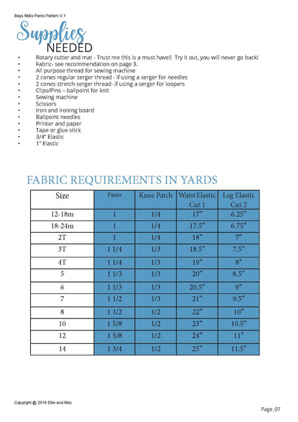 Boys moto pants sewing pattern fabric requirements chart for Ellie and Mac Patterns