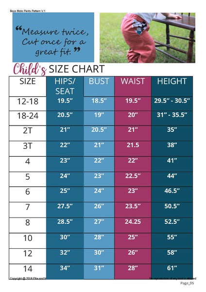 Boys Moto Pants Sewing Pattern Size Chart for Ellie and Mac