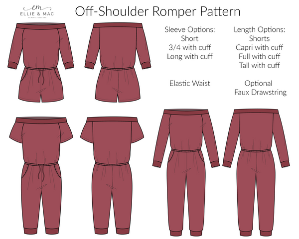 Off-Shoulder Romper Pattern line drawing by Ellie and Mac Sewing Patterns