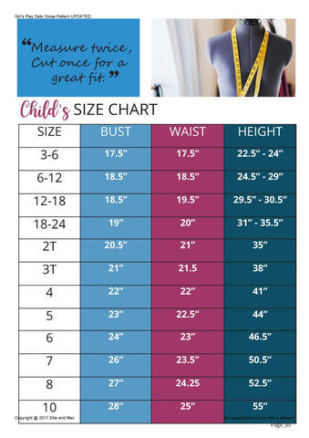 Girl's Play Date Dress Size Chart
