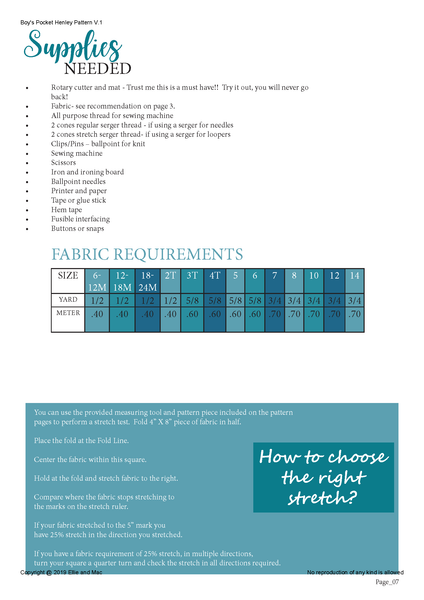Pocket Henley Fabric Requirements Chart