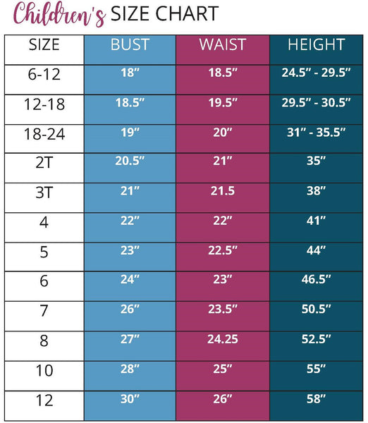 Be Adventurous Girls Size Chart