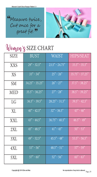 Ellie and Mac Size Chart for South Shore Women's Romper Sewing Pattern