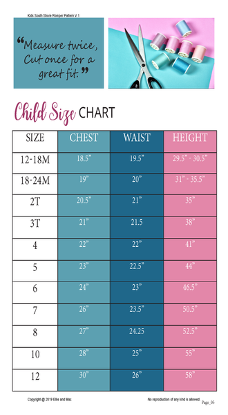 South Shore Romper Kids Size Chart