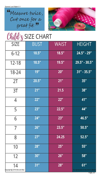 Summer Love Size Chart
