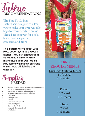 Tote To Go Bag sewing pattern free sewing projects by ellie and mac sewing patterns