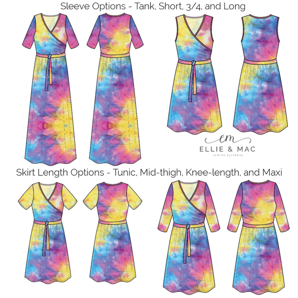 tres belle easy wrap dress sewing pattern line drawing by ellie and mac patterns