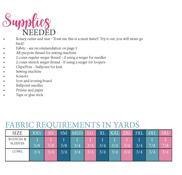 Twist It Up Top Sewing Pattern Fabric Requirement Chart for Ellie and Mac Sewing Pattern