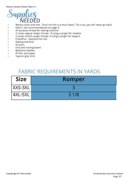 Vacation Romper Fabric Requirements Chart