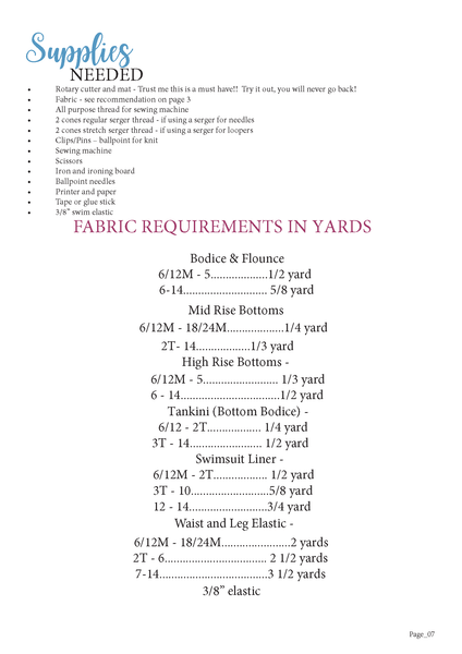 Waterfall kids swimsuit fabric requirement chart