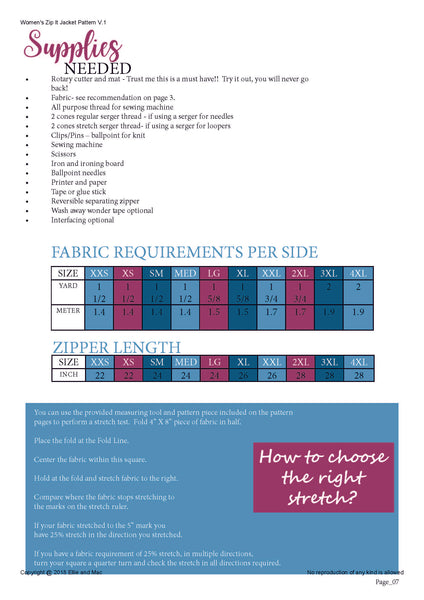 womens zip it fabric requirements chart for Ellie and Mac Sewing Pattern