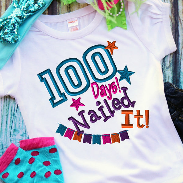 100 Days Nailed It Embroidery Design - Ellie and Mac, Digital (PDF) Sewing Patterns | USA, Canada, UK, Australia