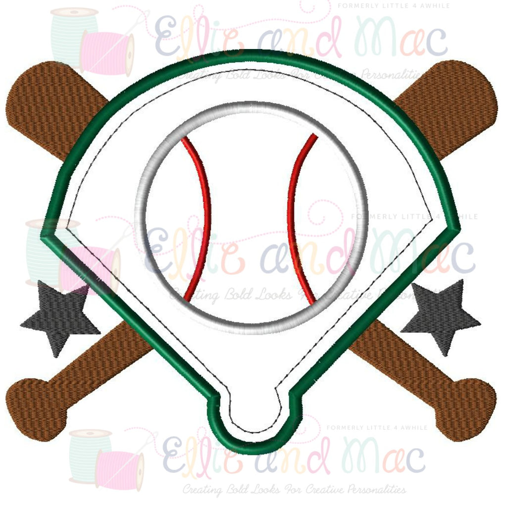 Baseball Diamond Applique Design - Ellie and Mac, Digital (PDF) Sewing Patterns | USA, Canada, UK, Australia