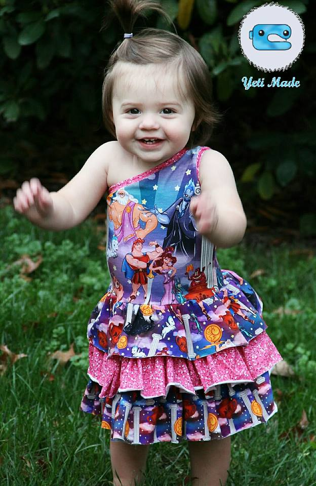 Girl's Be Edgy One Shoulder Dress Pattern - Ellie and Mac, Digital (PDF) Sewing Patterns | USA, Canada, UK, Australia