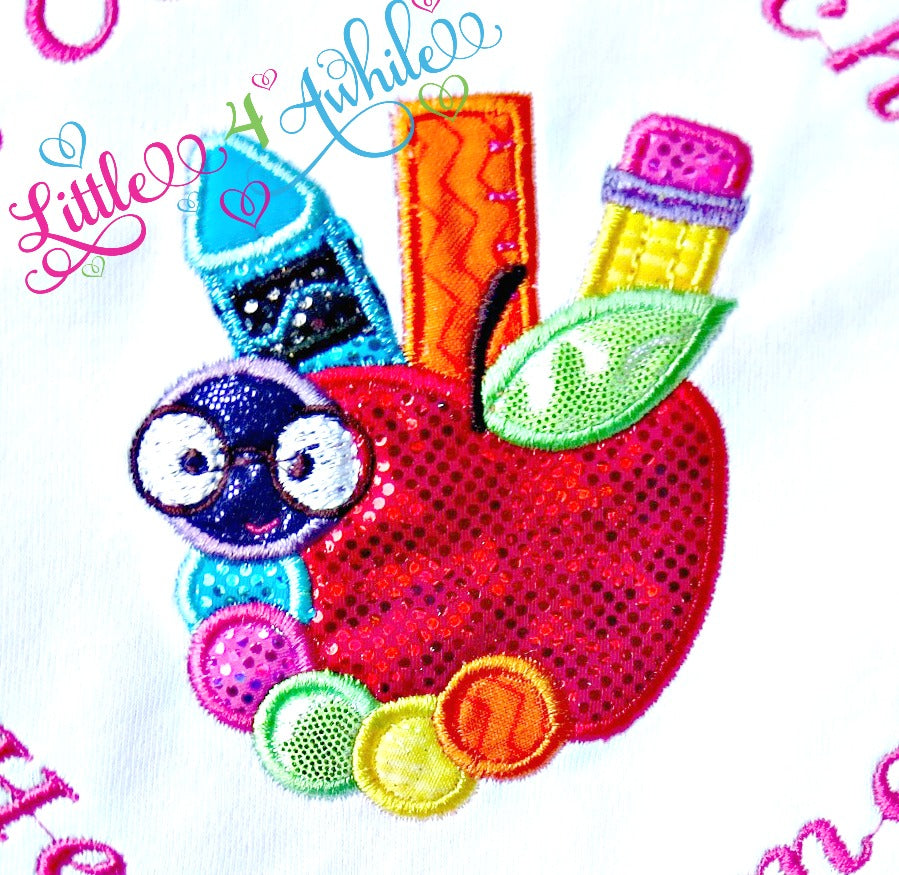 School Book Worm Applique Design - Ellie and Mac, Digital (PDF) Sewing Patterns | USA, Canada, UK, Australia