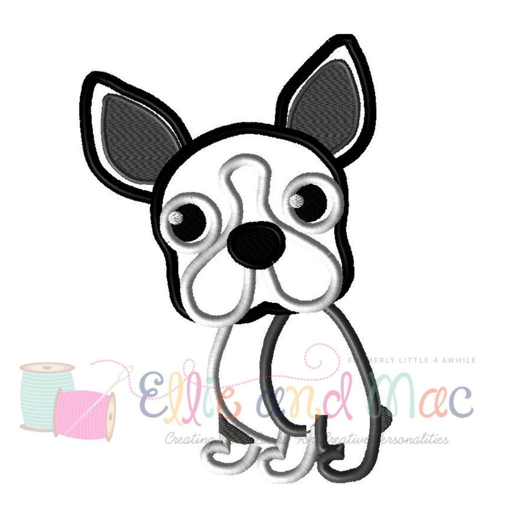 Pampered Boston Terrier Dog Applique Design
