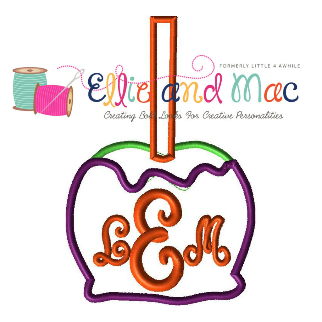 Monogram Candy Apple Applique Embroidery Design