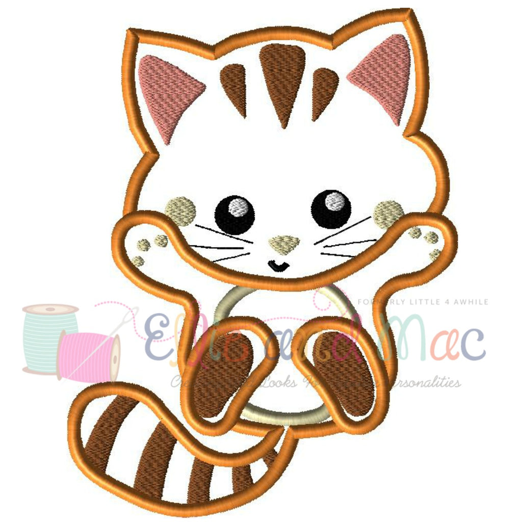 Pampered Kitten Playing Applique Design