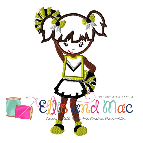 Cheer Girl Applique Embroidery Design - Ellie and Mac, Digital (PDF) Sewing Patterns | USA, Canada, UK, Australia