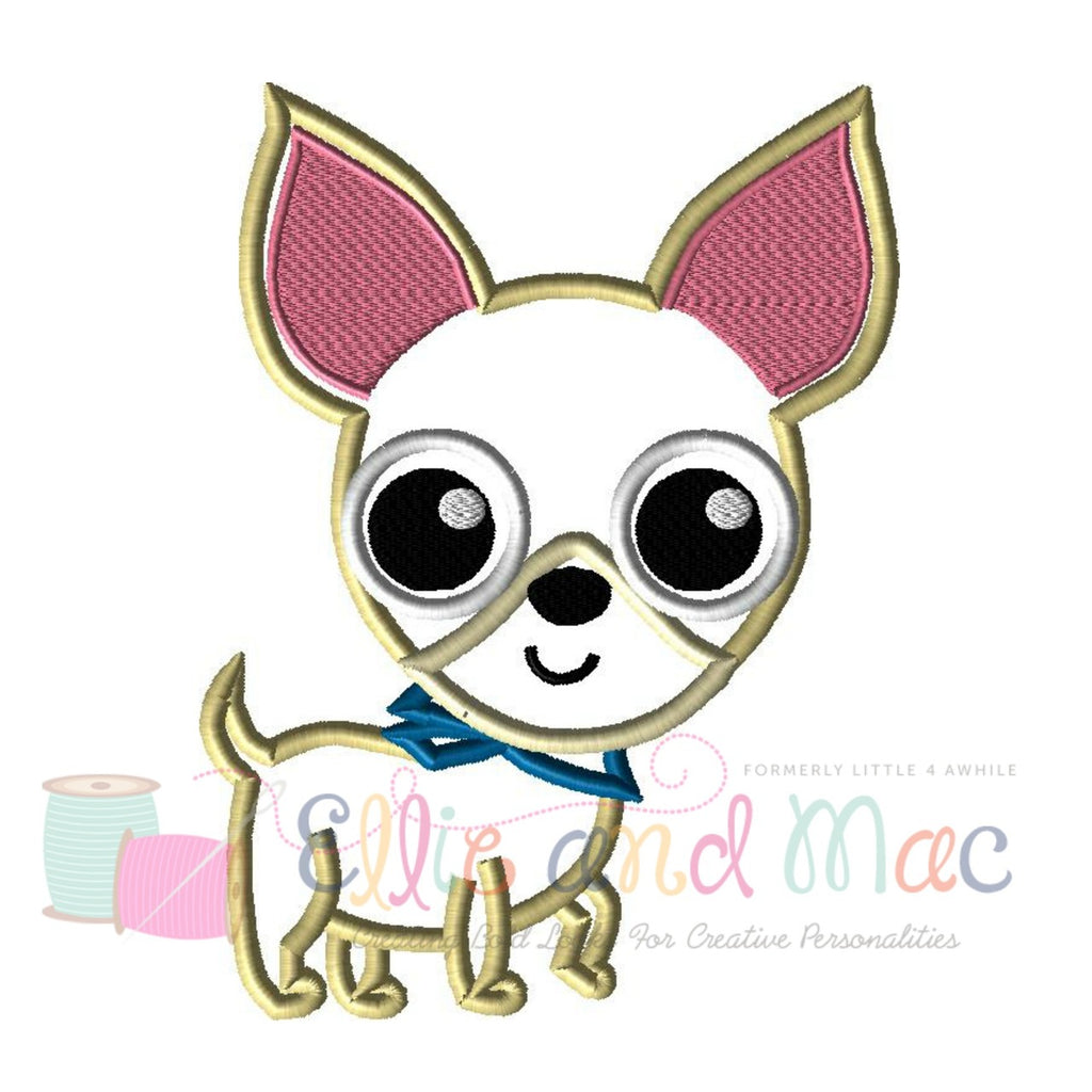 Pampered Chihuahua Dog Applique Design