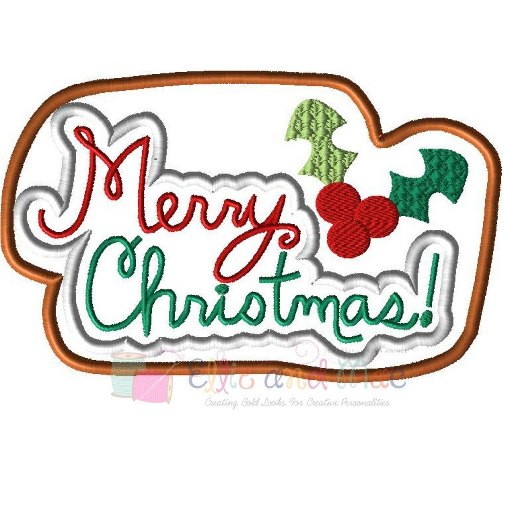 Merry Christmas Cookie Applique Design