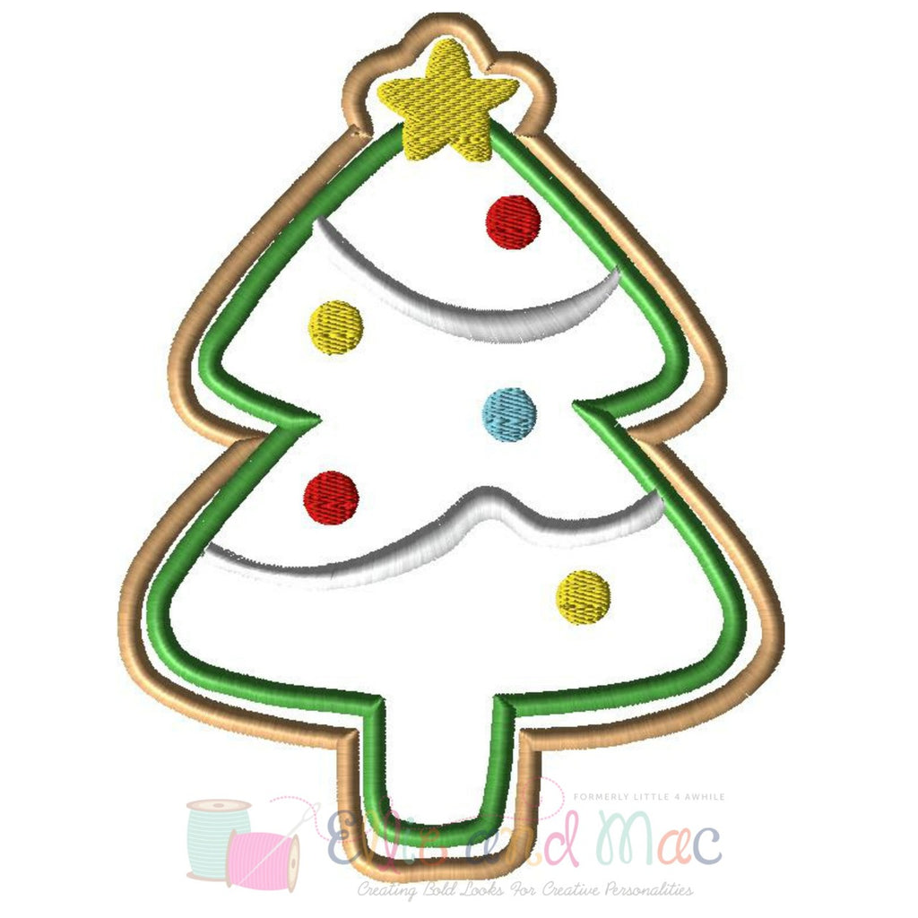 Christmas Tree Cookie Applique Design