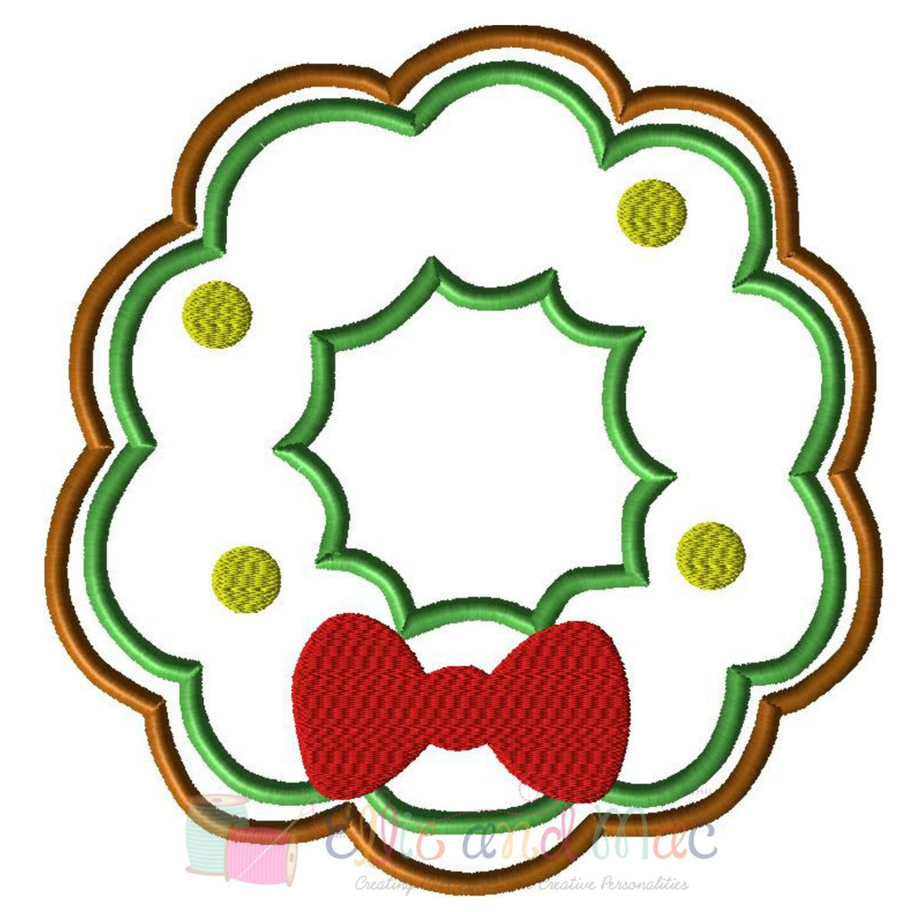 Christmas Wreath Cookie Applique Design