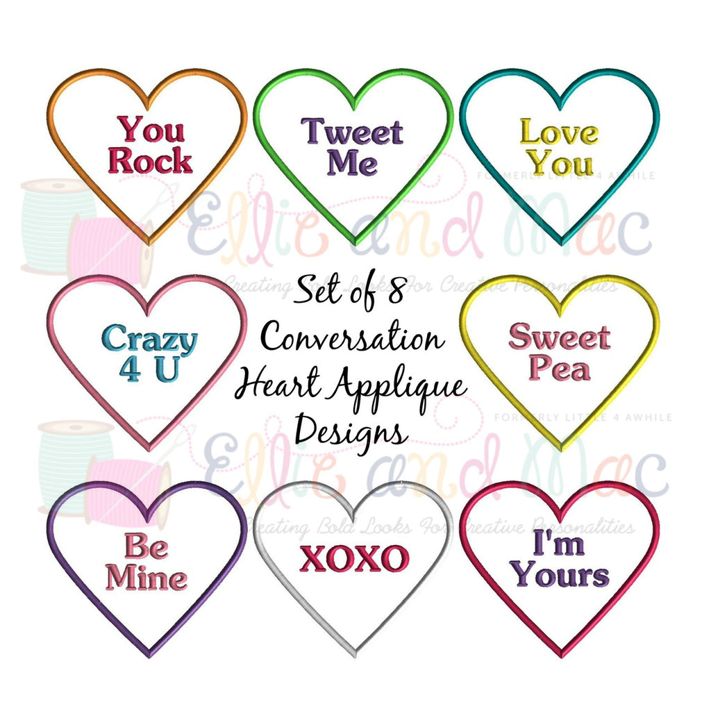 Conversation Hearts Applique Design Set of 8