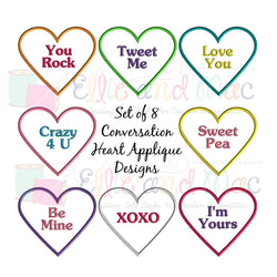 Conversation Hearts Applique Design Set of 8 - Ellie and Mac, Digital (PDF) Sewing Patterns | USA, Canada, UK, Australia
