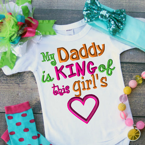 Daddy Is King Of This Girl's Heart Embroidery Design - Ellie and Mac, Digital (PDF) Sewing Patterns | USA, Canada, UK, Australia