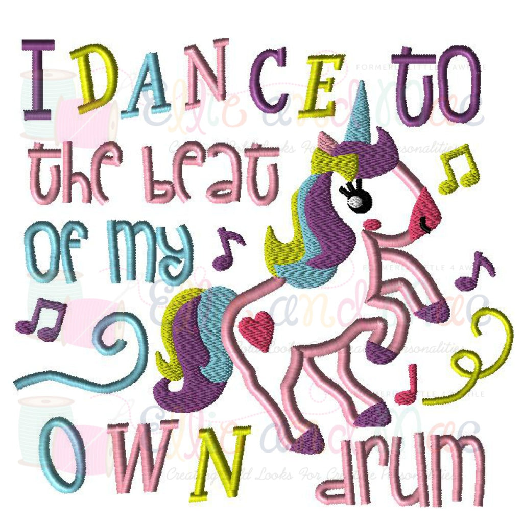 I Dance To The Beat Saying Applique Design