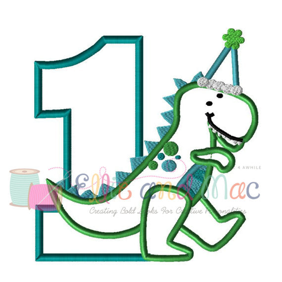 One Birthday Dinosaur Applique Design - Ellie and Mac, Digital (PDF) Sewing Patterns | USA, Canada, UK, Australia