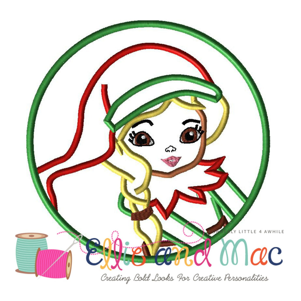 Christmas Elf Circle Applique Design