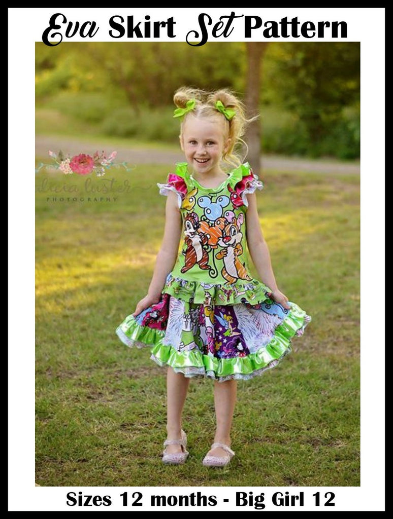 Girls Eva Skirt Set Pattern - Ellie and Mac, Digital (PDF) Sewing Patterns | USA, Canada, UK, Australia