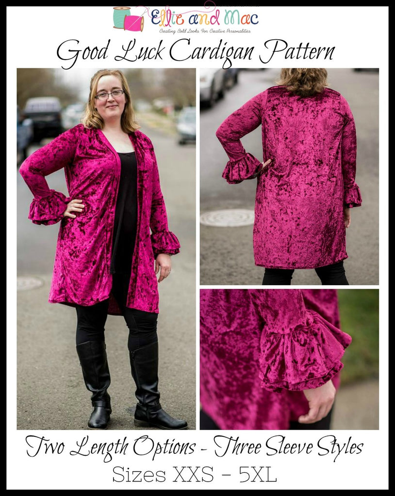 Women's Good Luck Cardigan Pattern - Ellie and Mac, Digital (PDF) Sewing Patterns | USA, Canada, UK, Australia