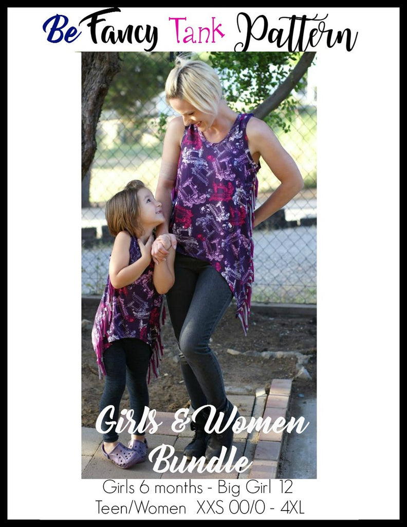 Girl's & Women's Be Fancy Tank Top Pattern BUNDLE