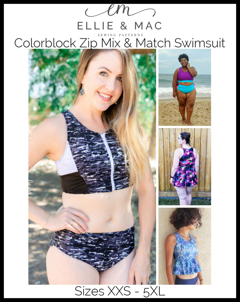 Colorblock Zip Swimsuit Mix & Match Pattern