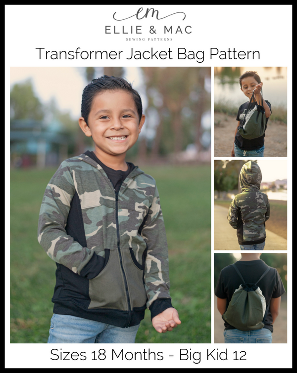Kids Transformer Jacket Bag Pattern Wacky