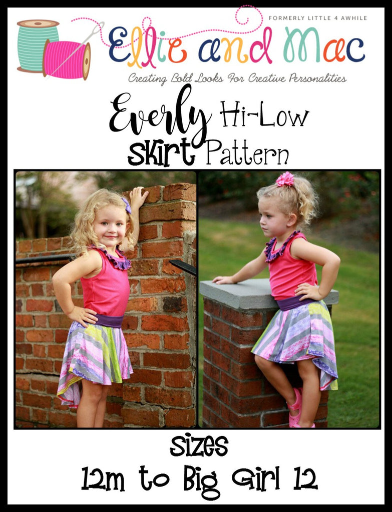 Girl's Everly Hi-Low Skirt Pattern - Ellie and Mac, Digital (PDF) Sewing Patterns | USA, Canada, UK, Australia
