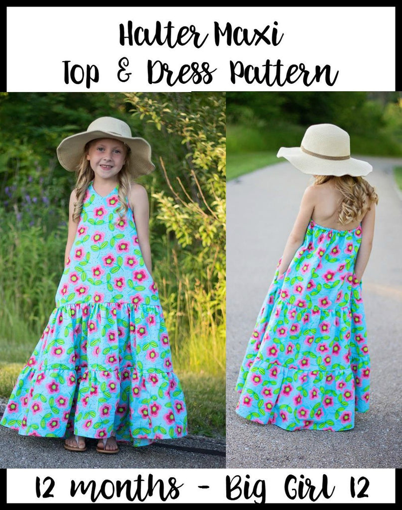 Girl's Halter Maxi Top & Dress Pattern - Ellie and Mac, Digital (PDF) Sewing Patterns | USA, Canada, UK, Australia