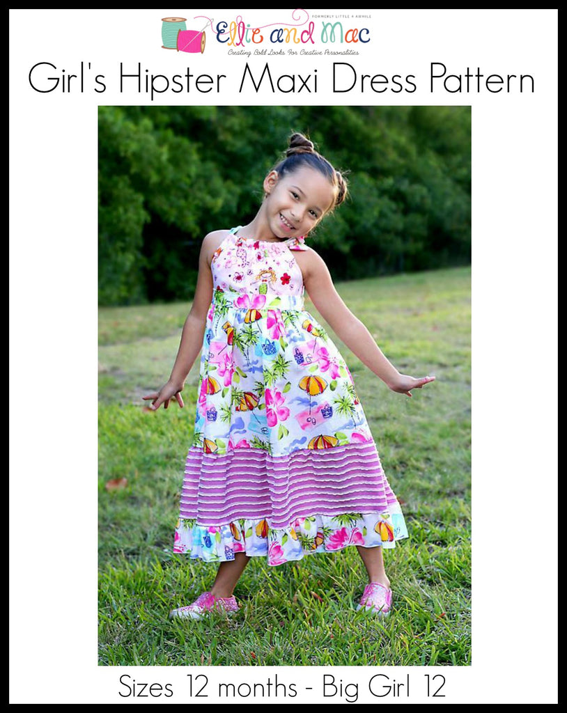 Girls Hipster Maxi Dress Pattern - Ellie and Mac, Digital (PDF) Sewing Patterns | USA, Canada, UK, Australia