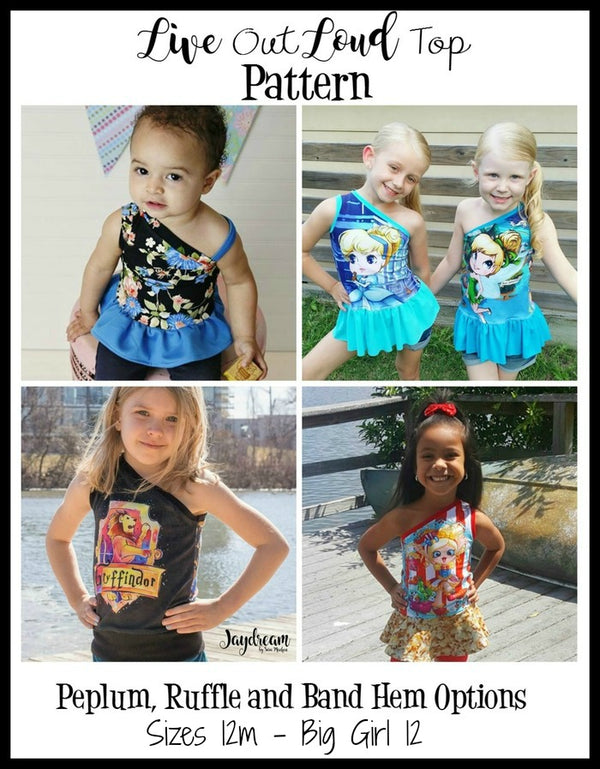 Girl's Live Out Loud One Shoulder Top Pattern - Ellie and Mac, Digital (PDF) Sewing Patterns | USA, Canada, UK, Australia