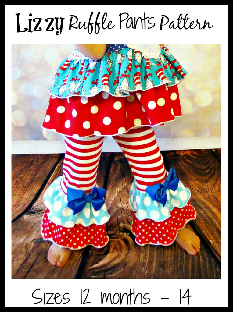 Girls Lizzy Ruffled Pants Pattern - Ellie and Mac, Digital (PDF) Sewing Patterns | USA, Canada, UK, Australia