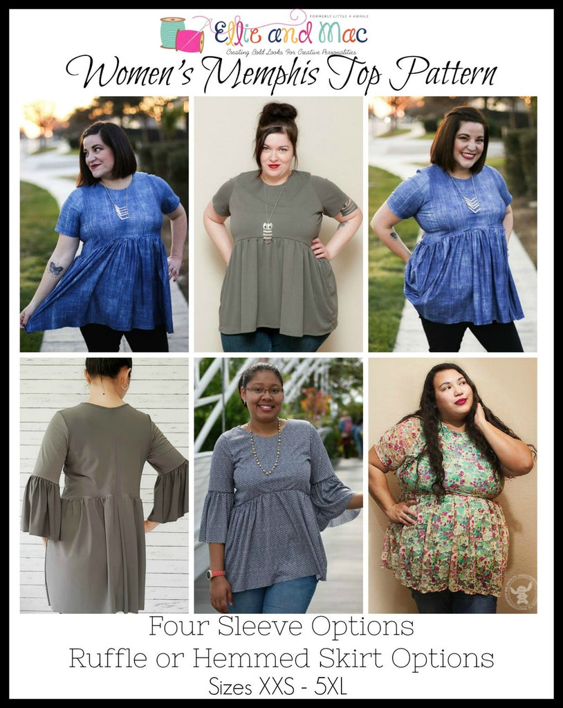 Women's Memphis Top Pattern - Ellie and Mac, Digital (PDF) Sewing Patterns | USA, Canada, UK, Australia