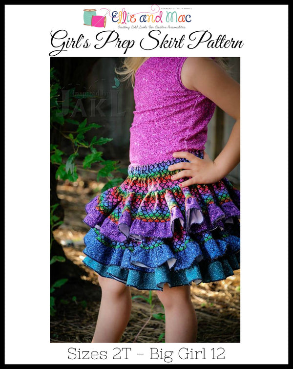 Girl's Prep Skirt Pattern - Ellie and Mac, Digital (PDF) Sewing Patterns | USA, Canada, UK, Australia