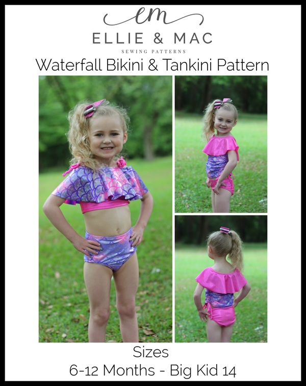 Kids Waterfall Swimsuit Mix & Match Pattern Wacky