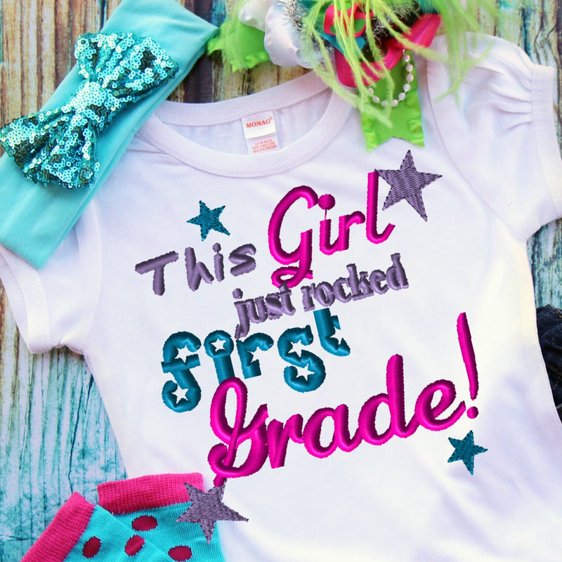 This Girl Just Rocked First Grade Embroidery Design - Ellie and Mac, Digital (PDF) Sewing Patterns | USA, Canada, UK, Australia